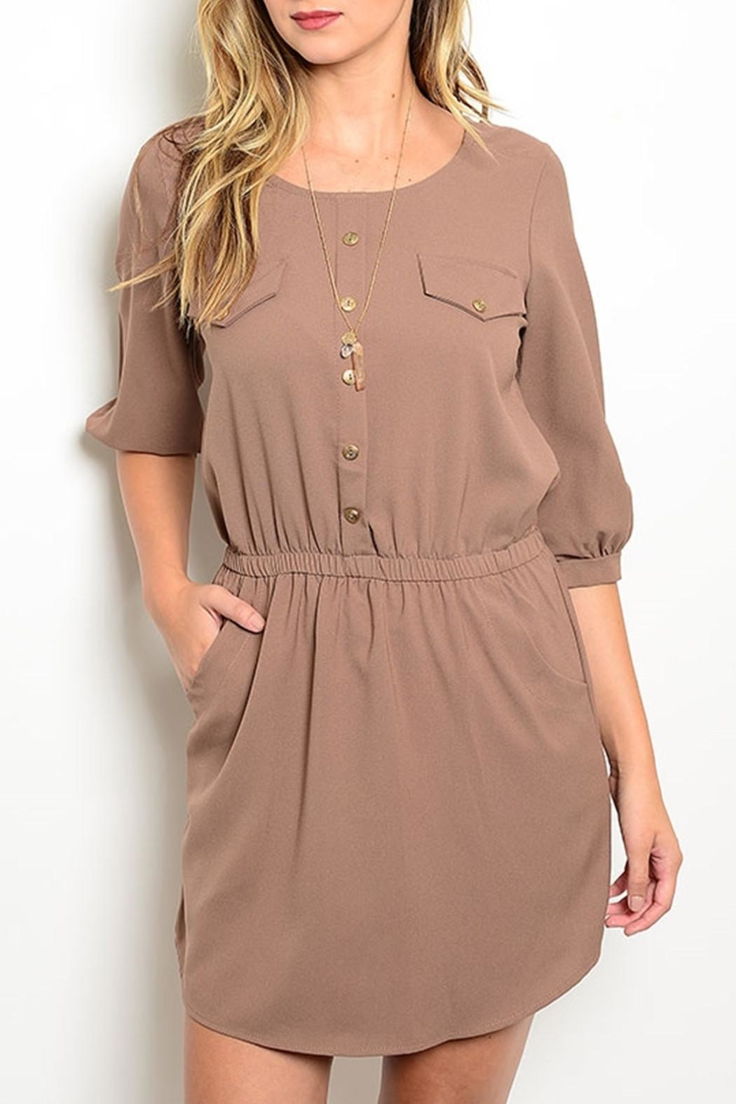Lila Khaki Pockets Dress - Front Cropped Image