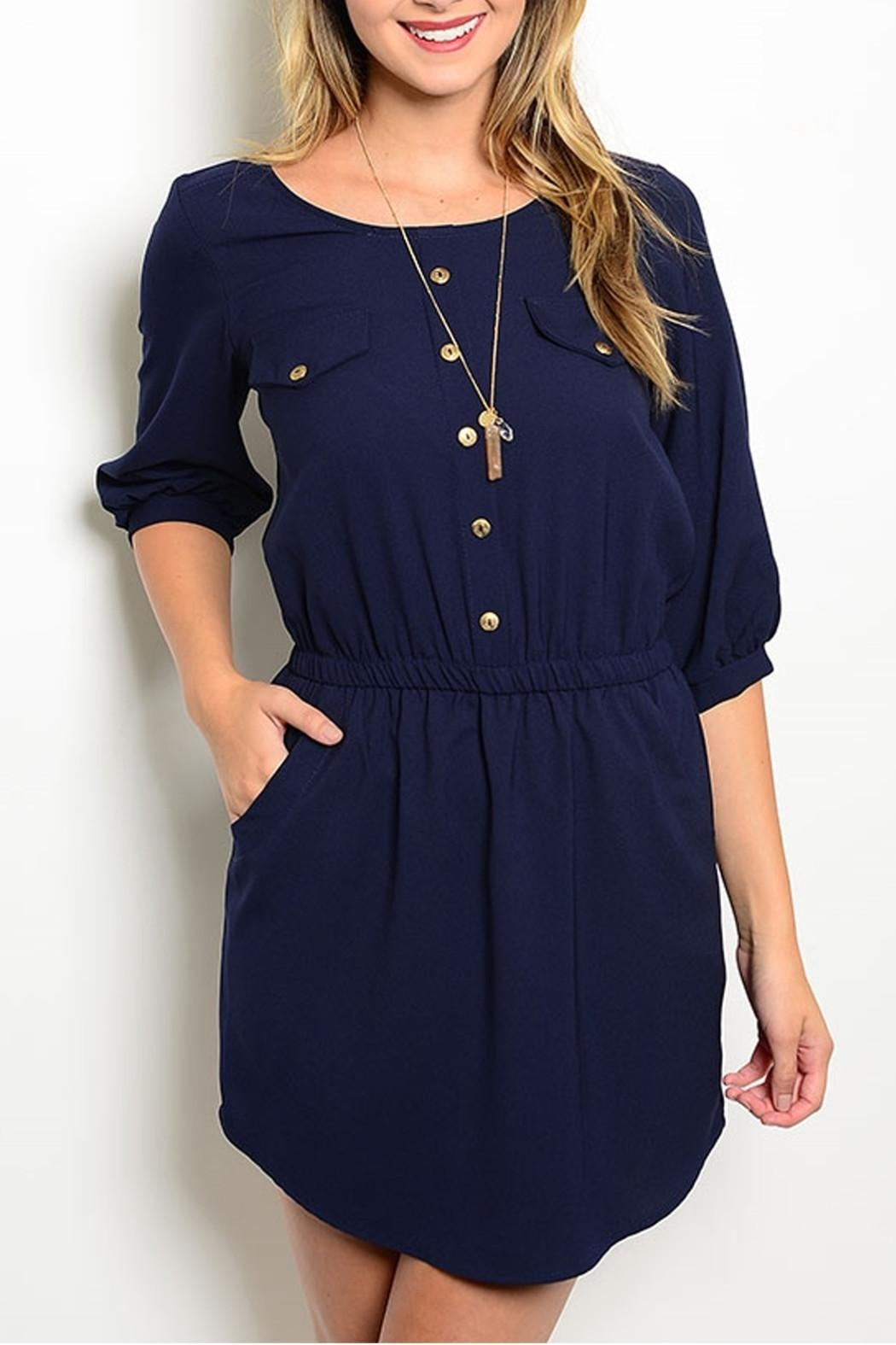 Lila Navy Pockets Dress - Front Cropped Image