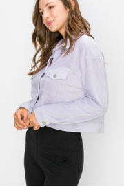 Double Zero Lilac Cropped Trucker Jacket - Front full body