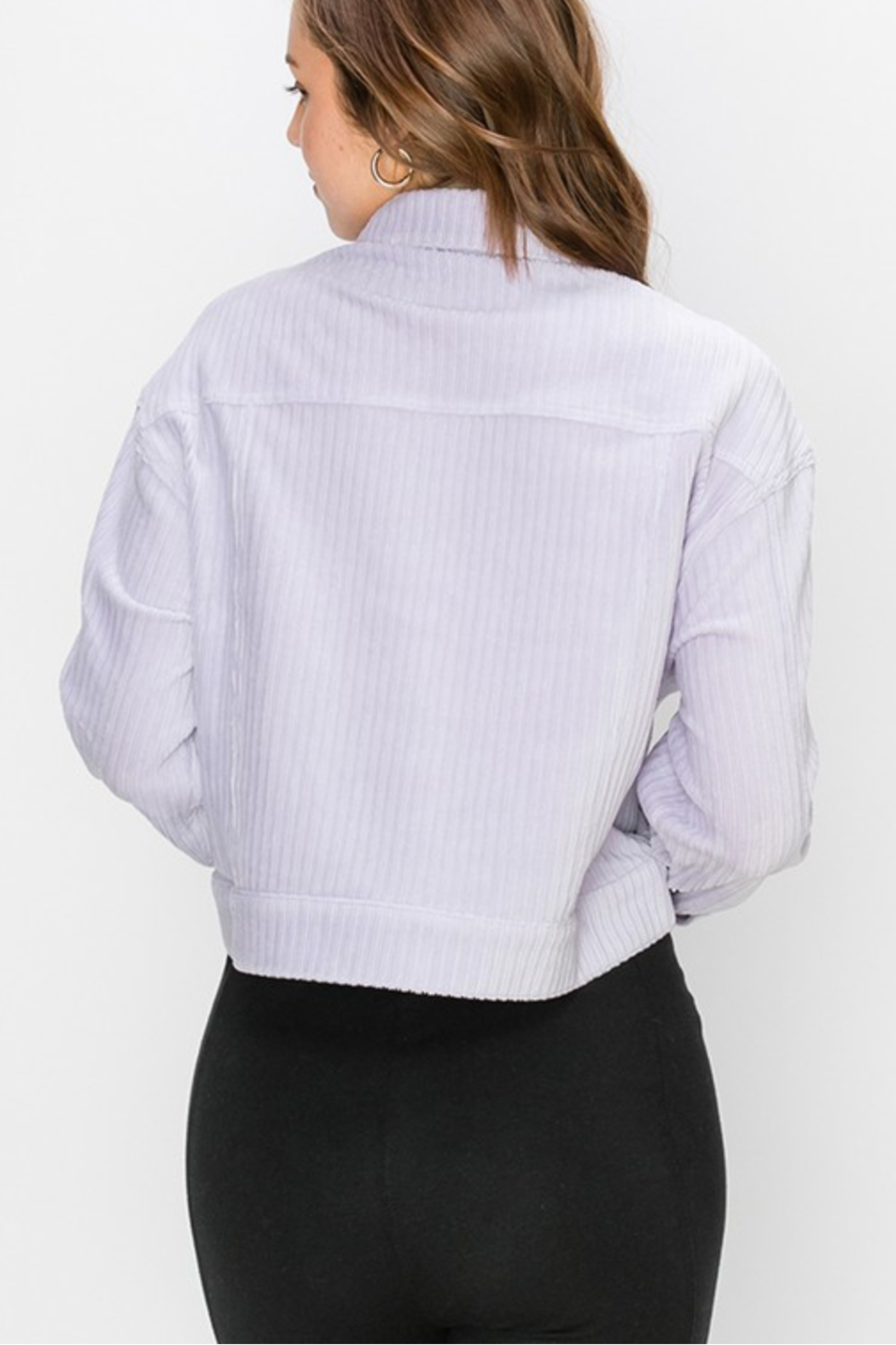 Double Zero Lilac Cropped Trucker Jacket - Side Cropped Image