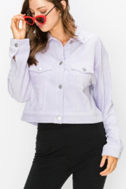 Double Zero Lilac Cropped Trucker Jacket - Front cropped