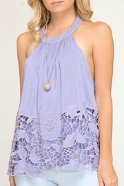 She + Sky Lilac Lace Halter-Tank - Product Mini Image