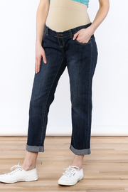 Lilac Maternity Dark Denim Boyfriend Jean - Product Mini Image