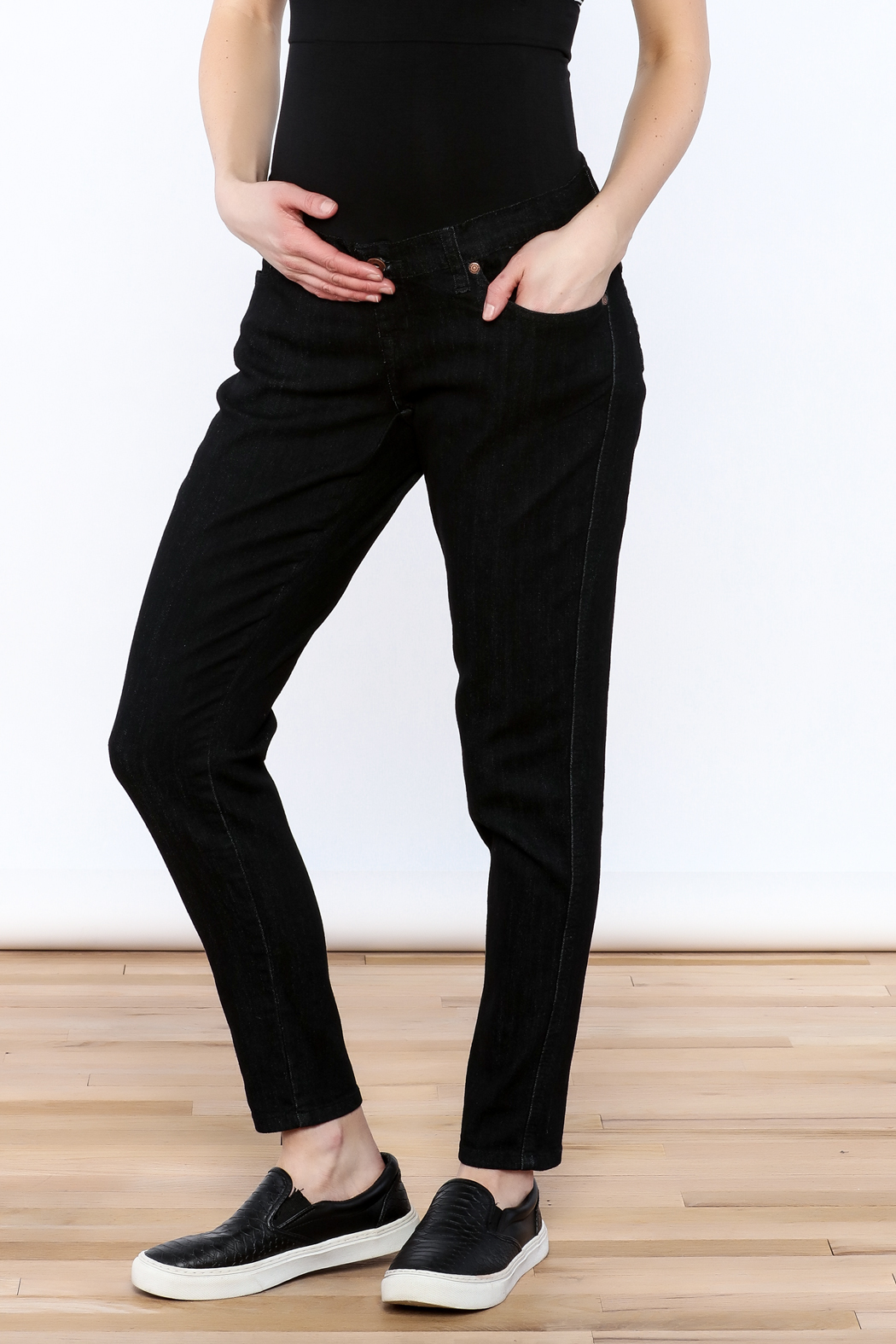 Lilac Maternity Black Skinny Jean - Front Full Image