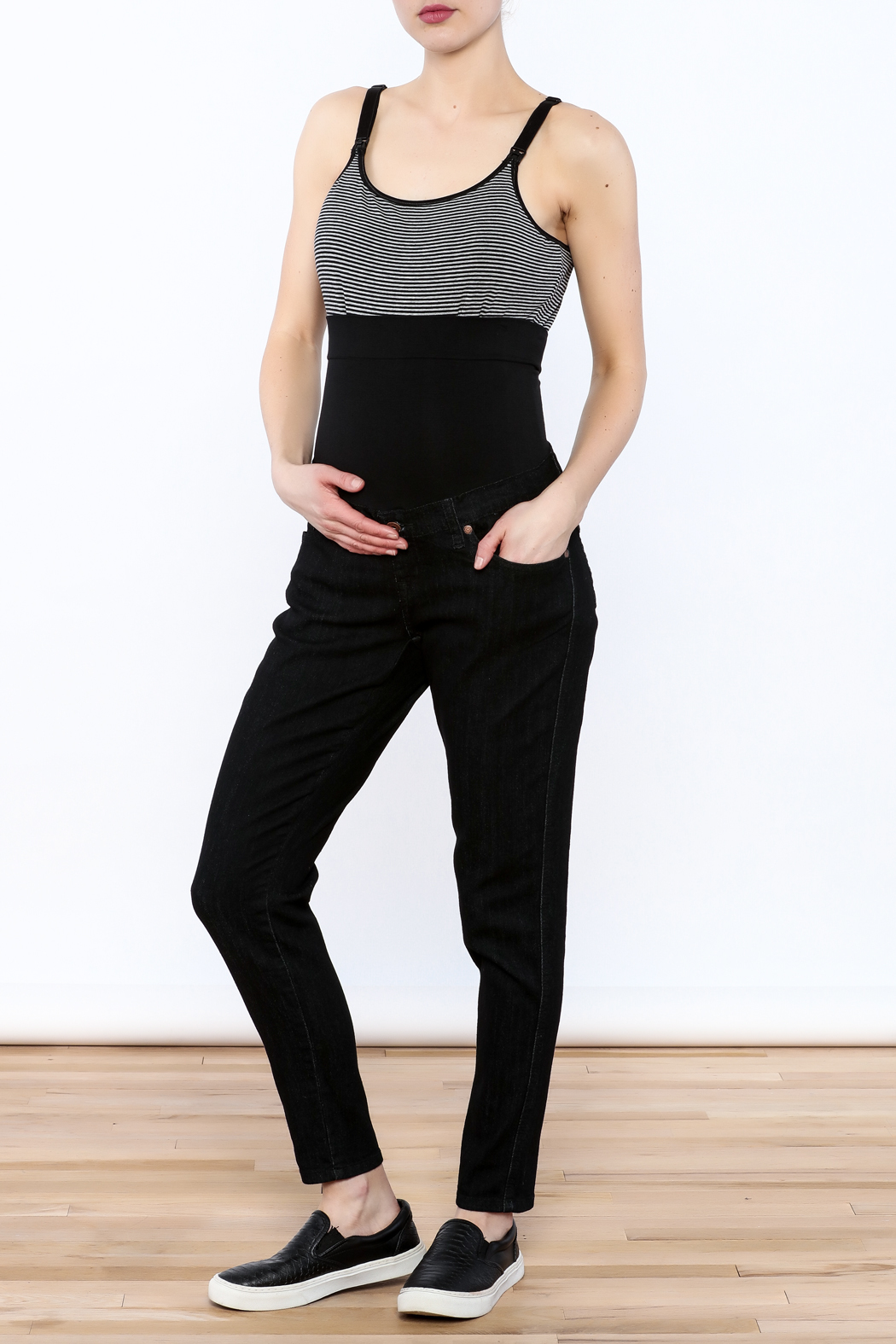 Lilac Maternity Black Skinny Jean - Front Cropped Image