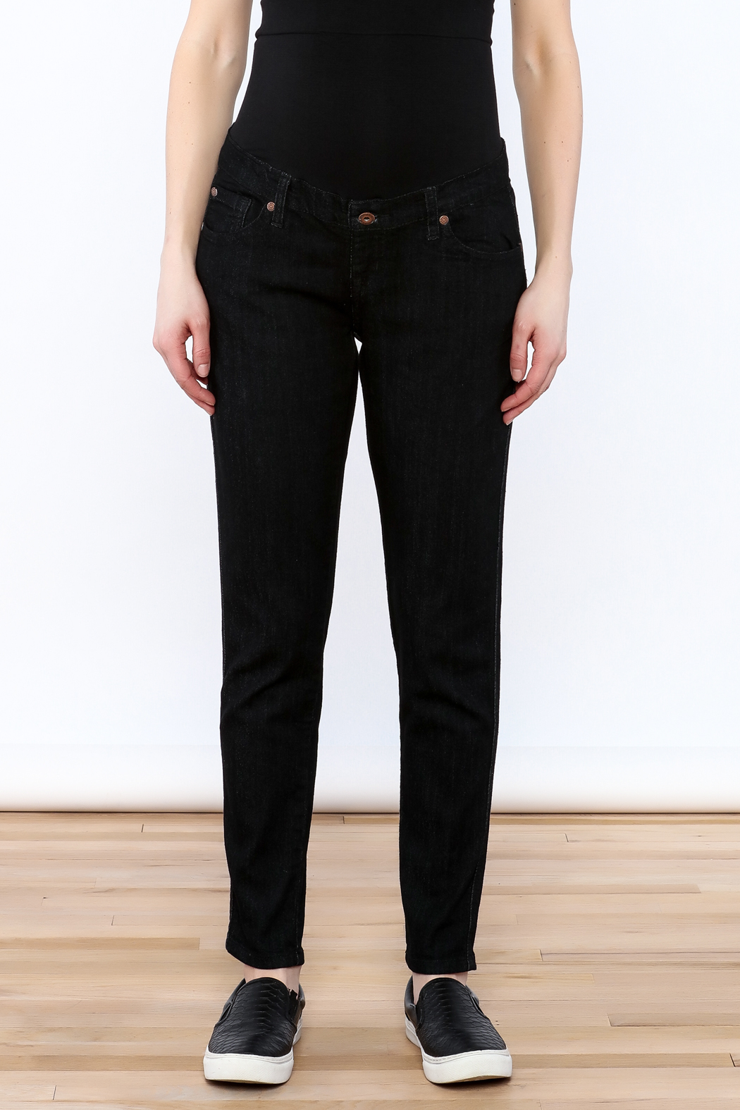 Lilac Maternity Black Skinny Jean - Side Cropped Image