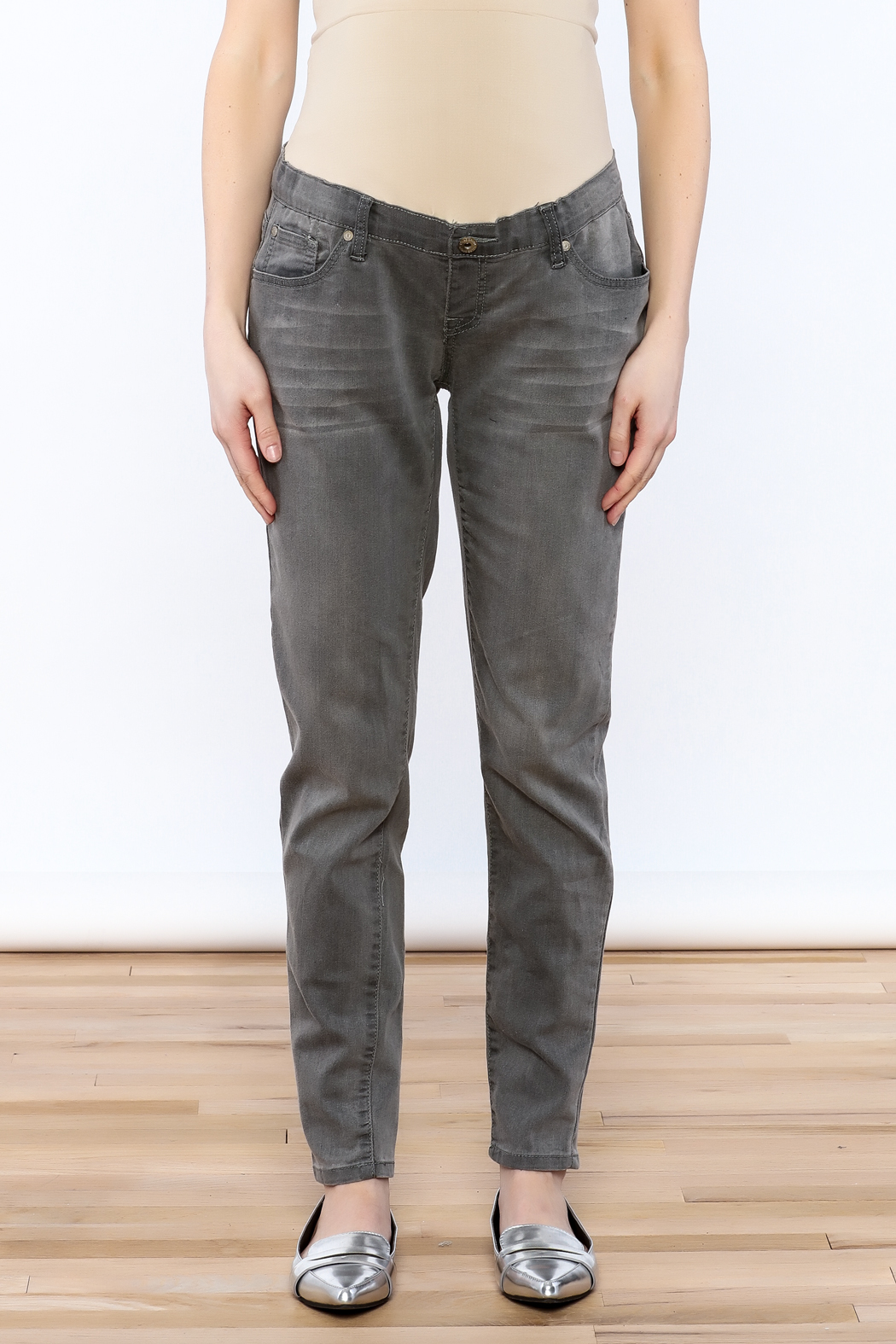 Lilac Maternity Grey Skinny Jean - Side Cropped Image