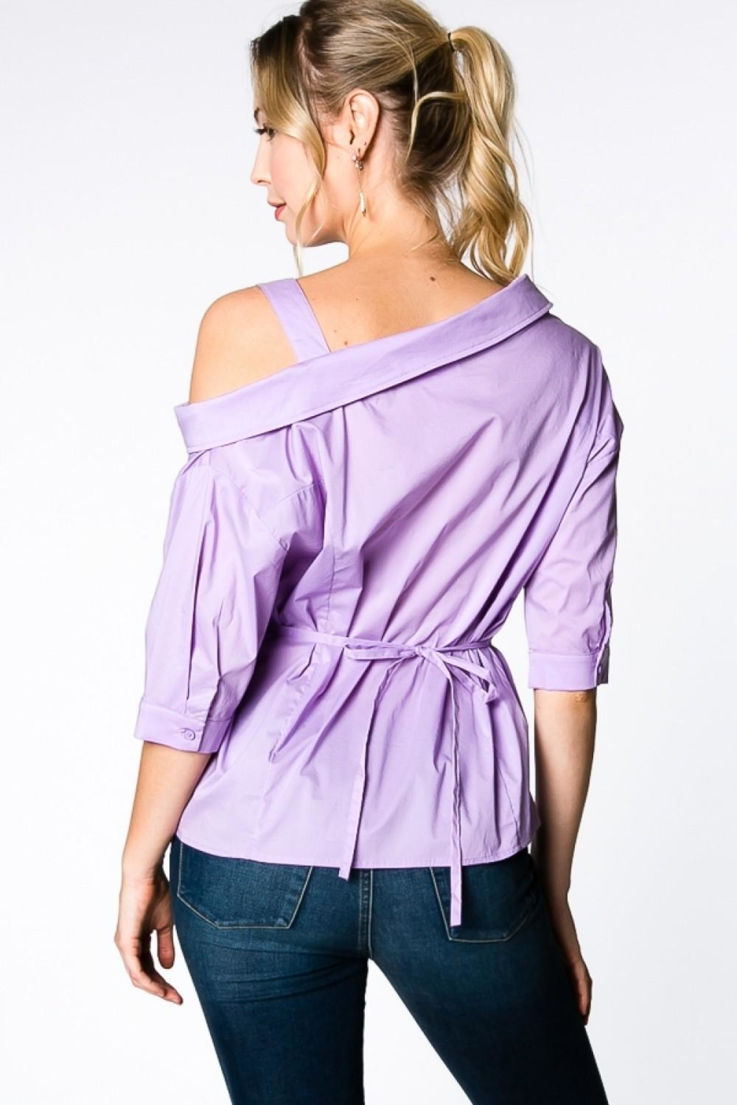 Everly Lilac Wrap Top - Side Cropped Image