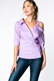 Everly Lilac Wrap Top - Front cropped