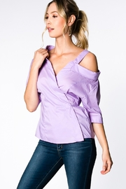 Everly Lilac Wrap Top - Front full body
