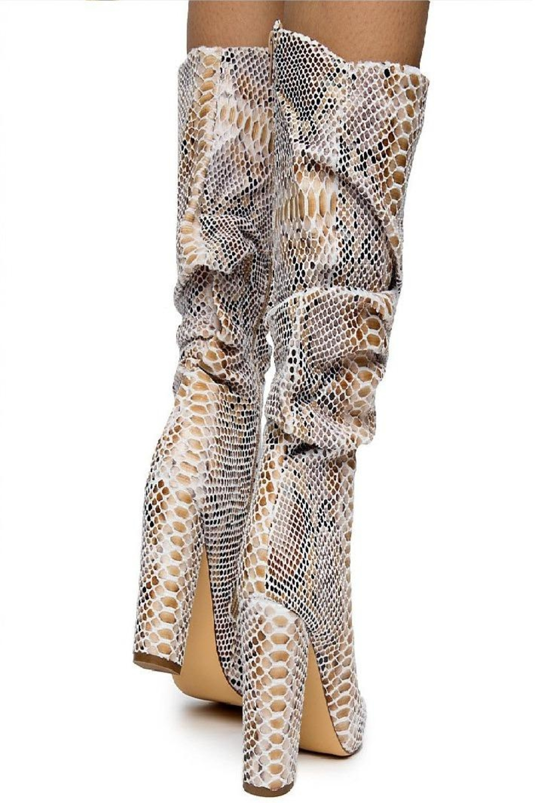 liliana Liliana Hariot-1 Women's Half Calf Boot Beige - Side Cropped Image