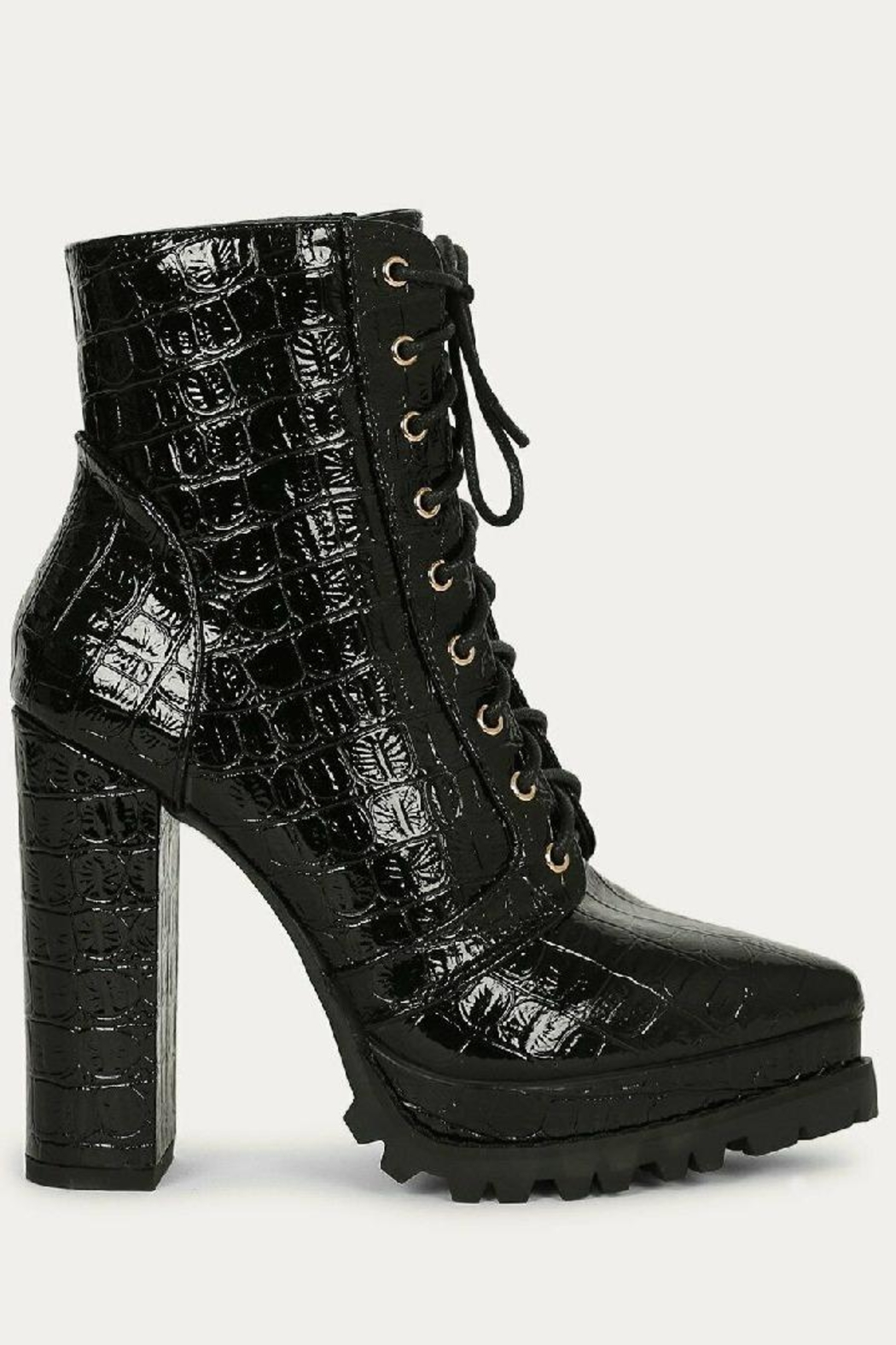 liliana Liliana Irie-1 Lace Up Booties Black Suede - Side Cropped Image