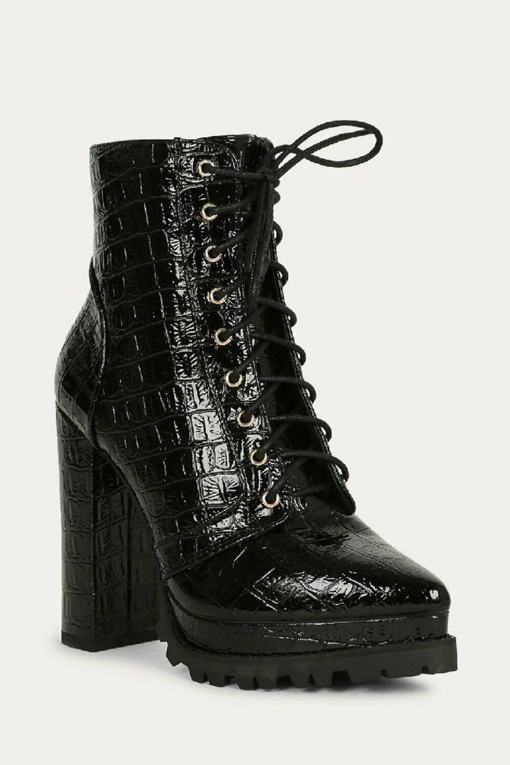 liliana Liliana Irie-1 Lace Up Booties Black Suede - Front Full Image