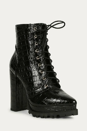 liliana Liliana Irie-1 Lace Up Booties Black Suede - Front full body