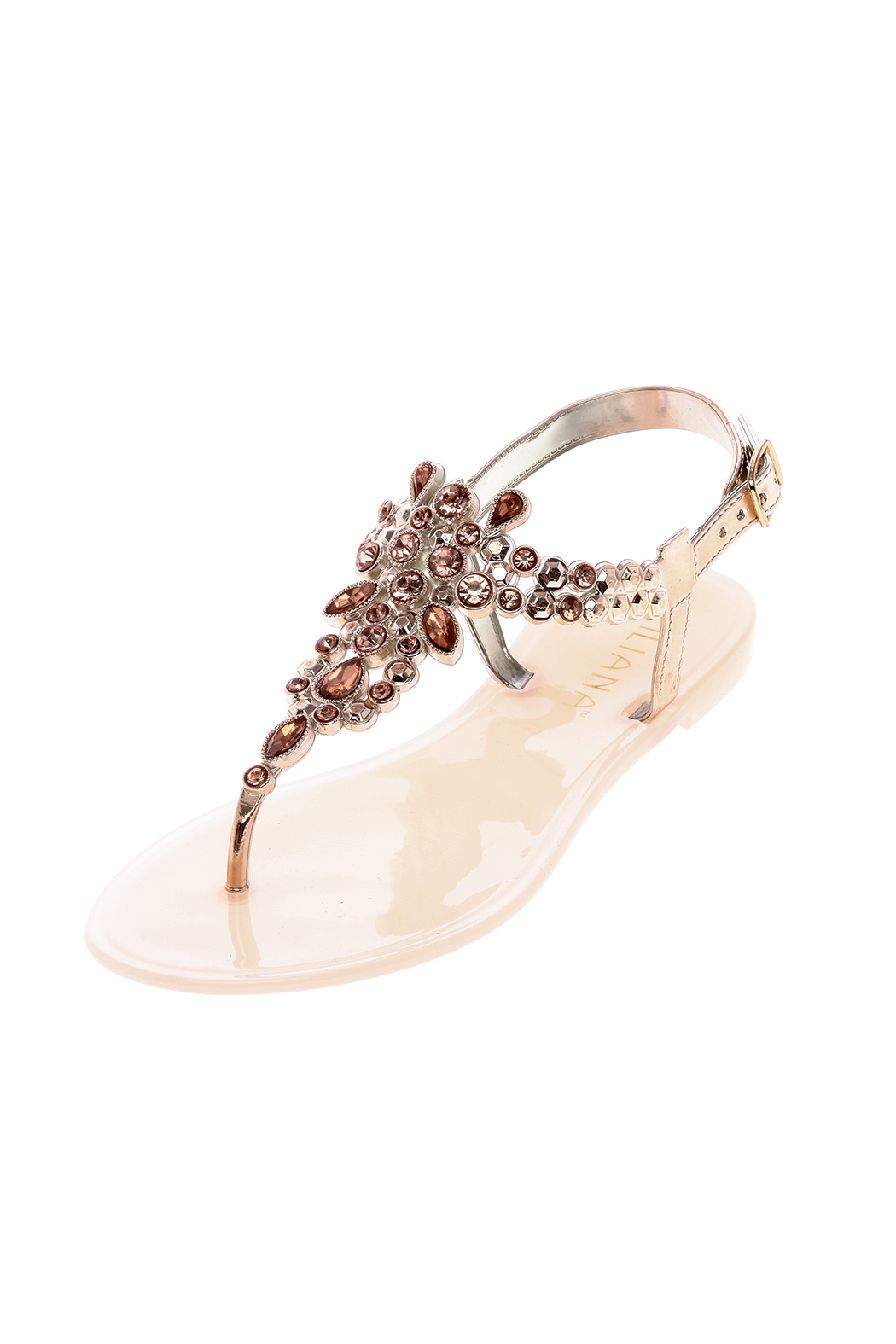 liliana Rose Gold Bejeweled Sandals - Main Image