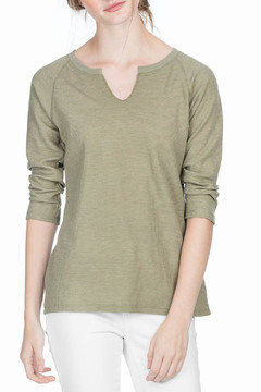 Shoptiques Product: 3/4 Sleeve Split Neck Tee
