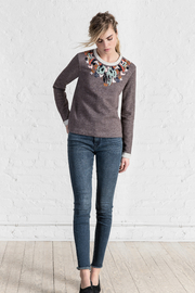 Lilla P Embroidered Neck Sweatshirt - Product Mini Image