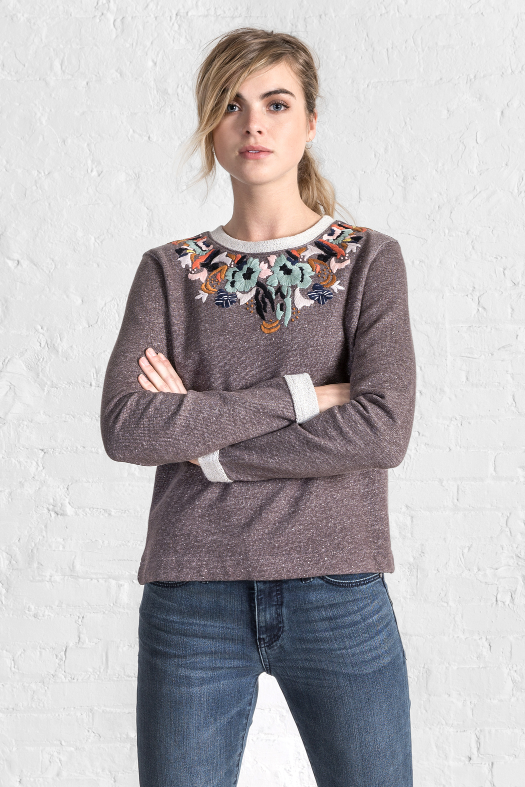 Lilla P Embroidered Neck Sweatshirt - Front Cropped Image
