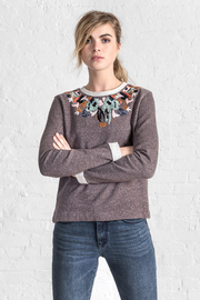 Lilla P Embroidered Neck Sweatshirt - Front cropped