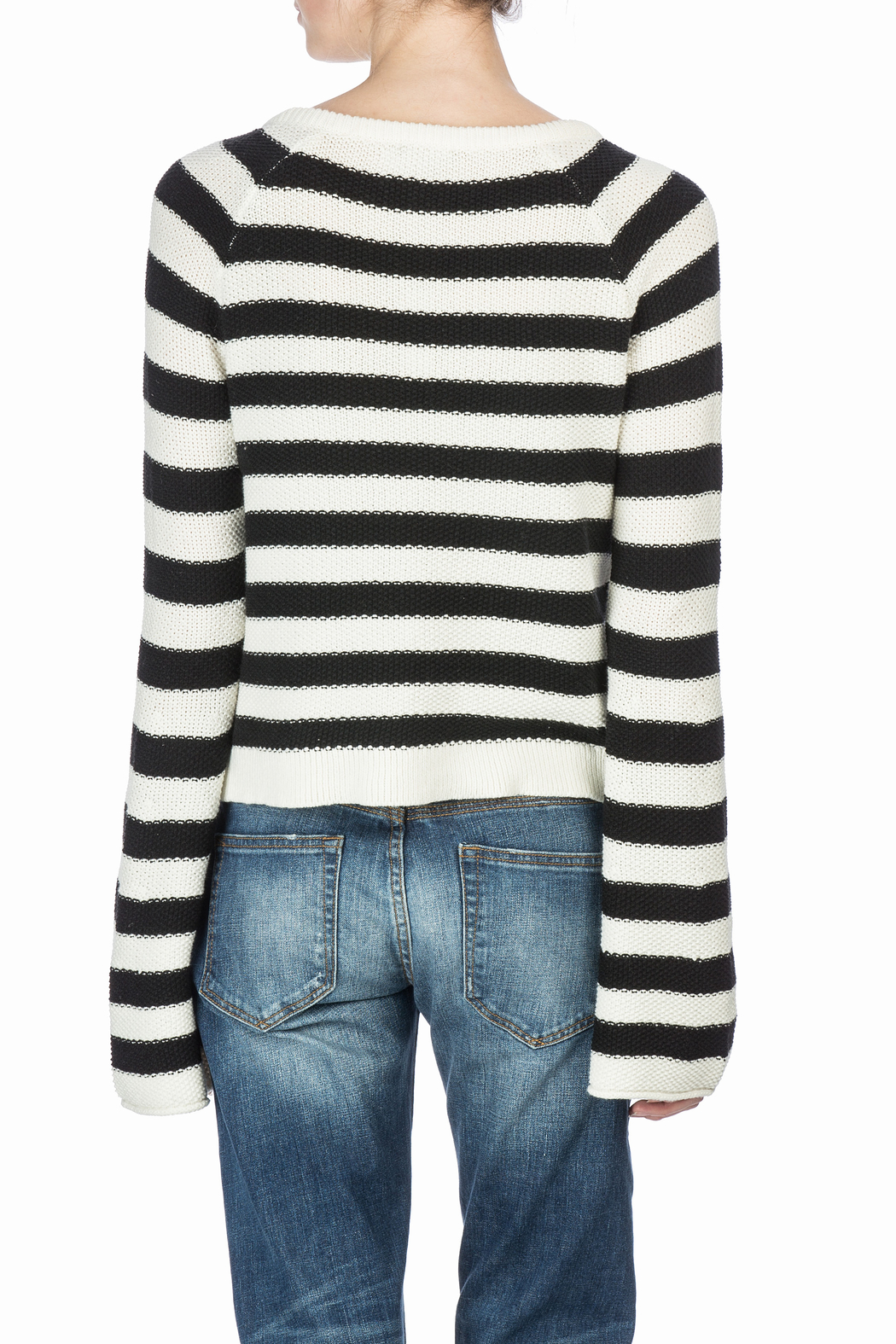 Lilla P Split Neck Sweater - Back Cropped Image