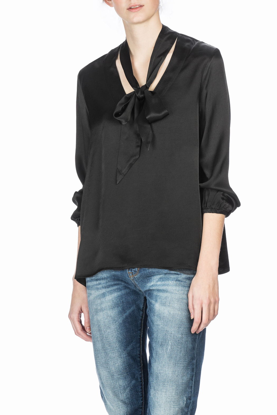 Lilla P Tie Neck Blouse - Front Cropped Image