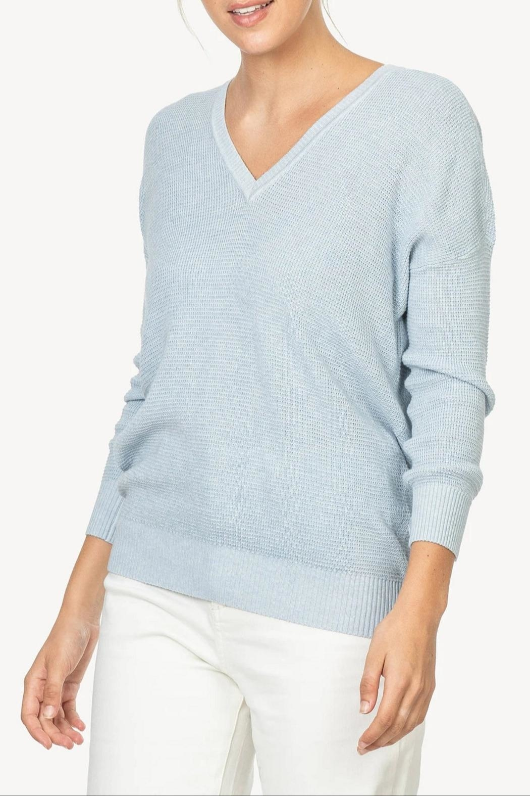 Lilla P 3/4 V-Neck Sweater - Front Cropped Image