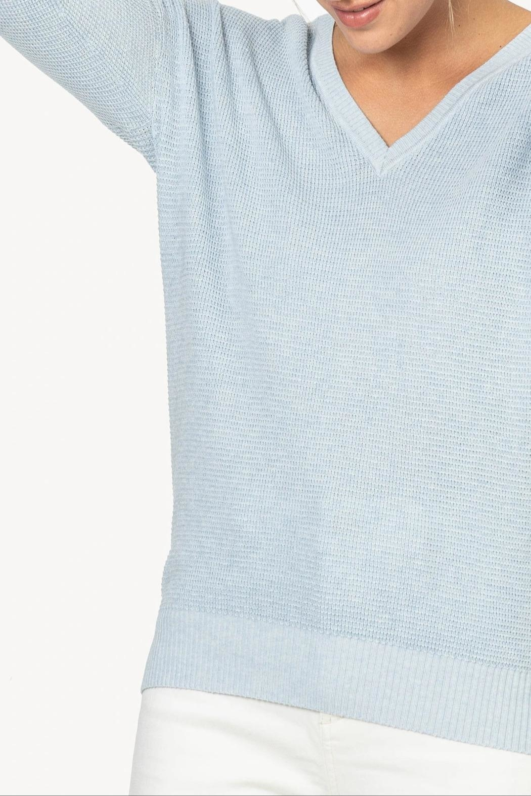 Lilla P 3/4 V-Neck Sweater - Side Cropped Image