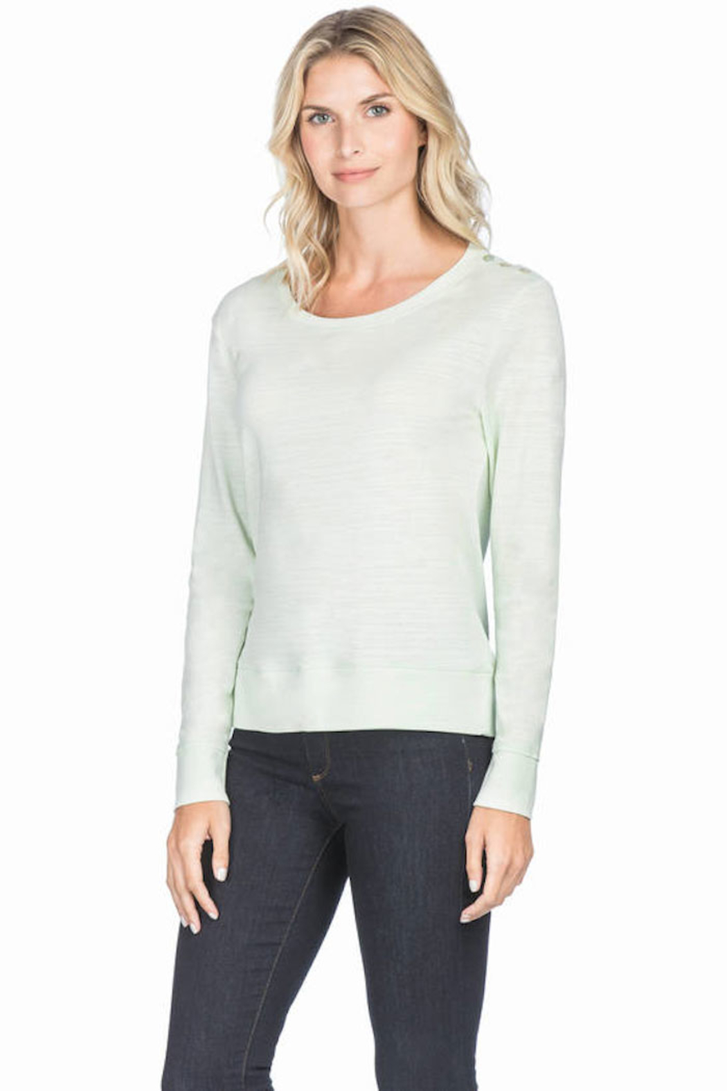 Lilla P Long Sleeve Button Shoulder - Front Cropped Image
