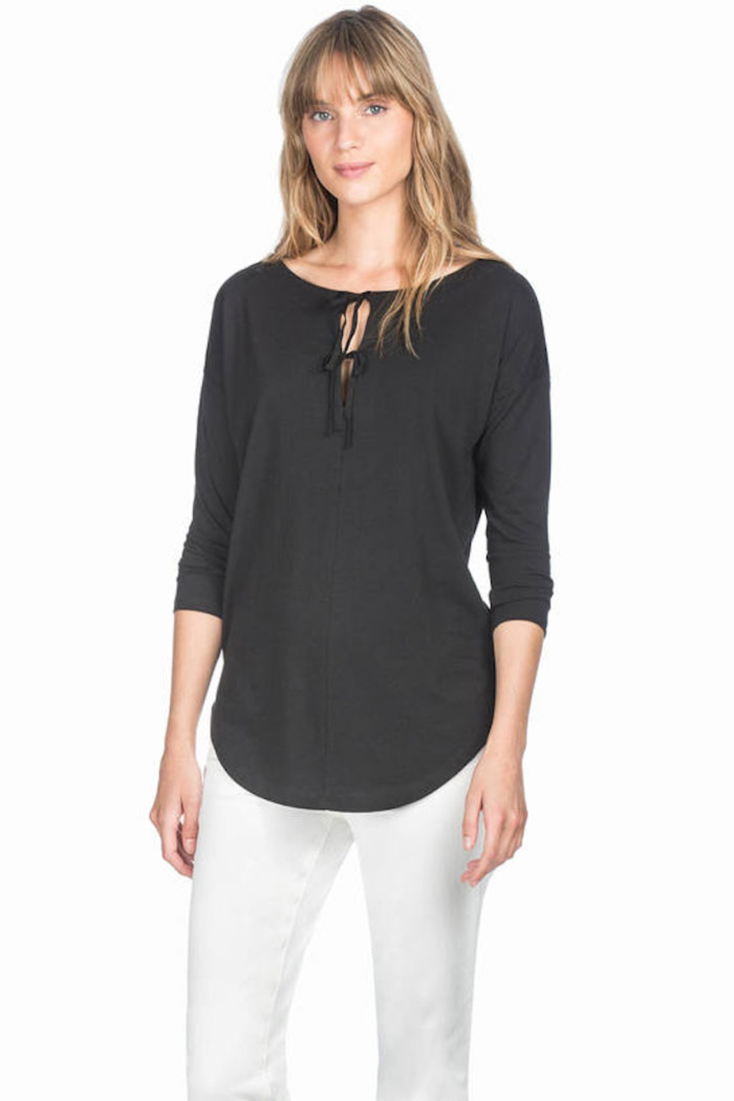 Lilla P Long Sleeve Tie Top - Front Cropped Image