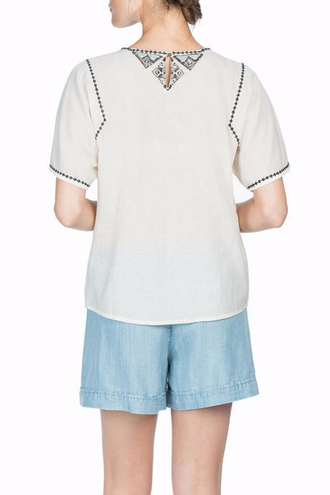 Lilla P Woven Embroidered Top - Front Full Image