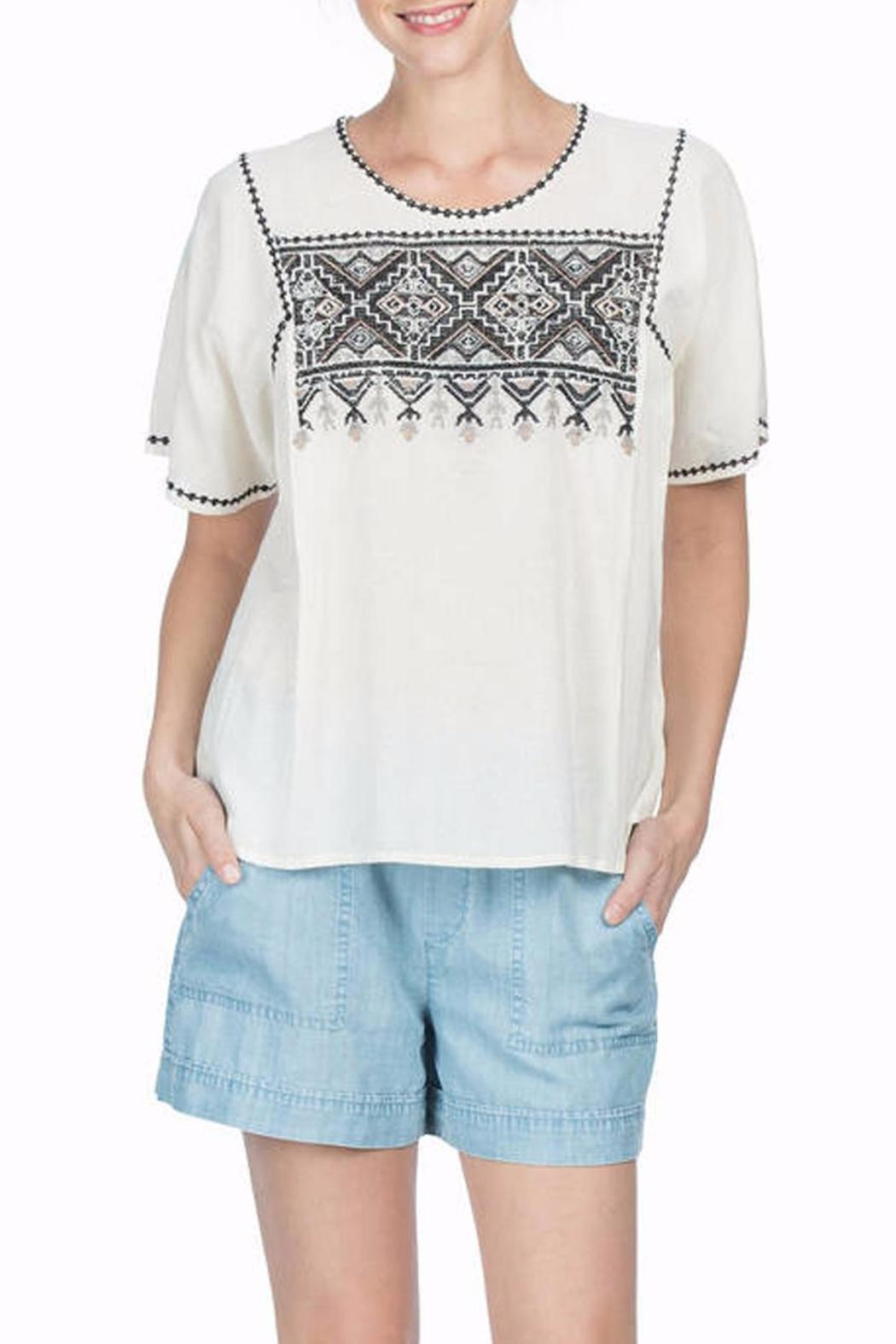 Lilla P Woven Embroidered Top - Front Cropped Image
