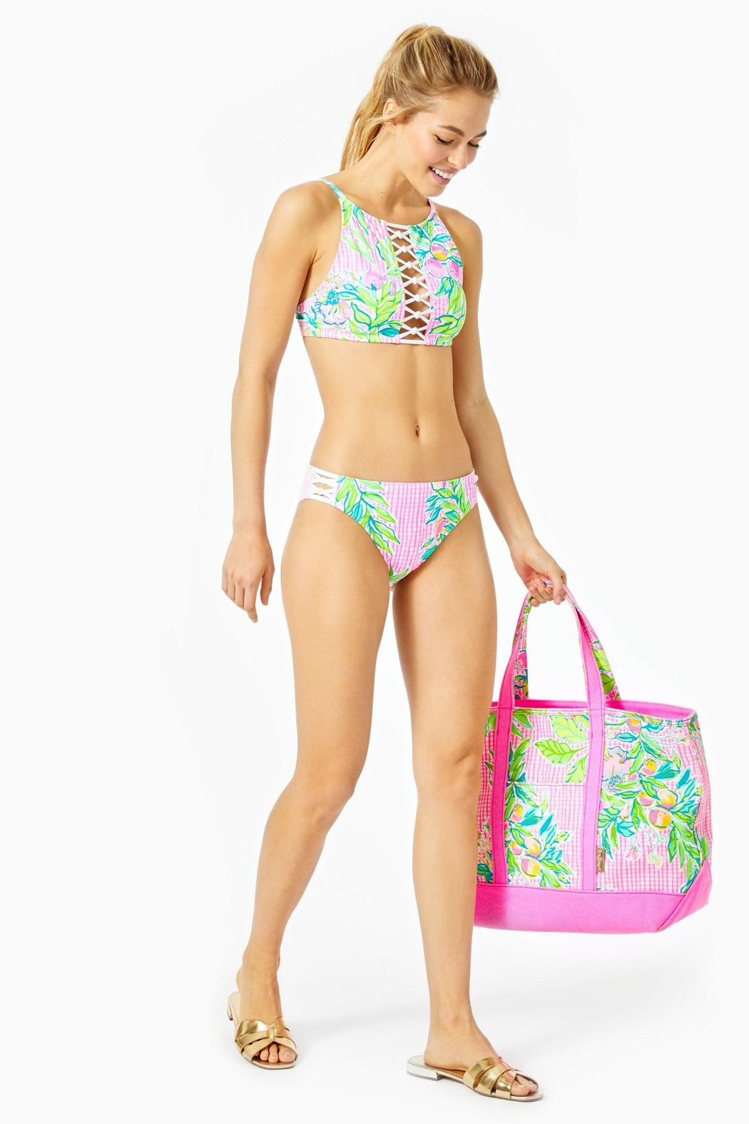 Lilly Pulitzer Adderlay Bikini Halter-Top - Back Cropped Image