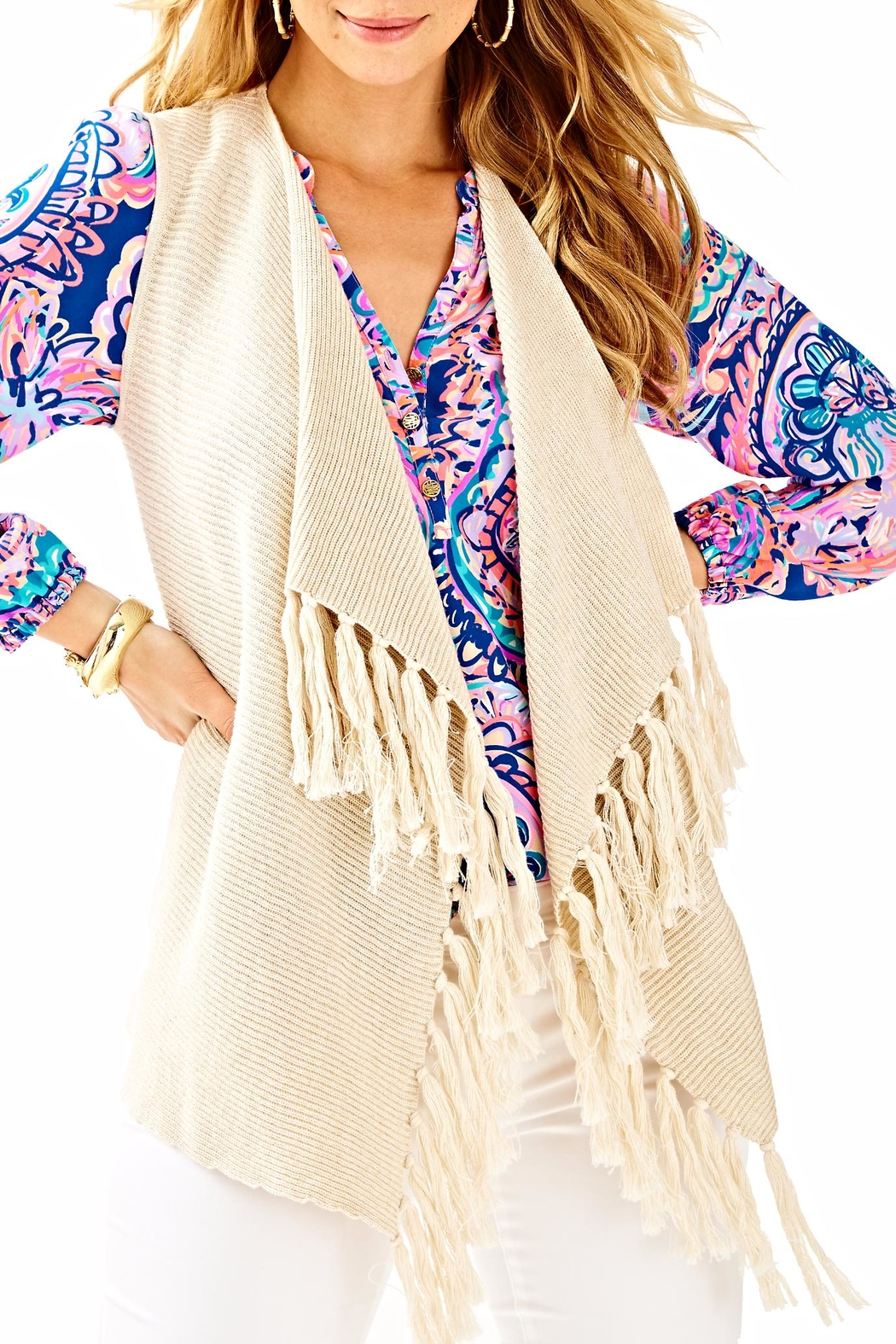 Lilly Pulitzer Andella Sweater Vest - Front Cropped Image