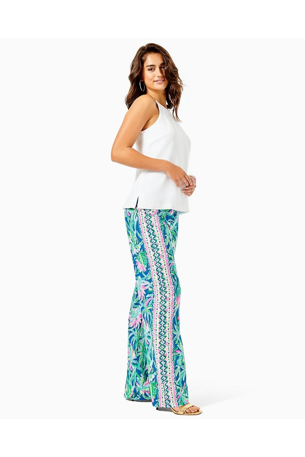 Lilly Pulitzer Bal Habour Palazzo-Pant - Back Cropped Image