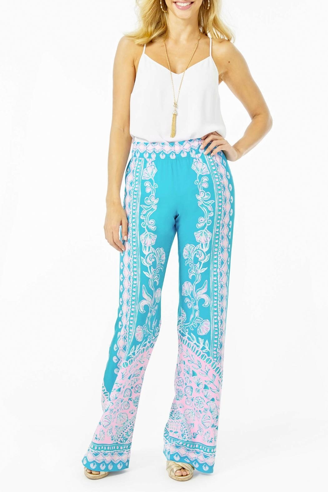 Lilly Pulitzer Bal-Harbour Mid-Rise Palazzo-Pant - Back Cropped Image