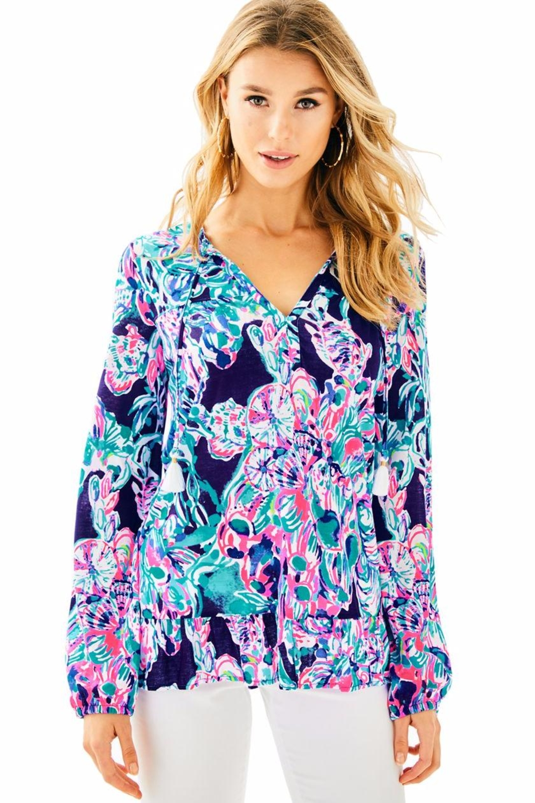 Lilly Pulitzer Daisy Knit Top - Front Cropped Image