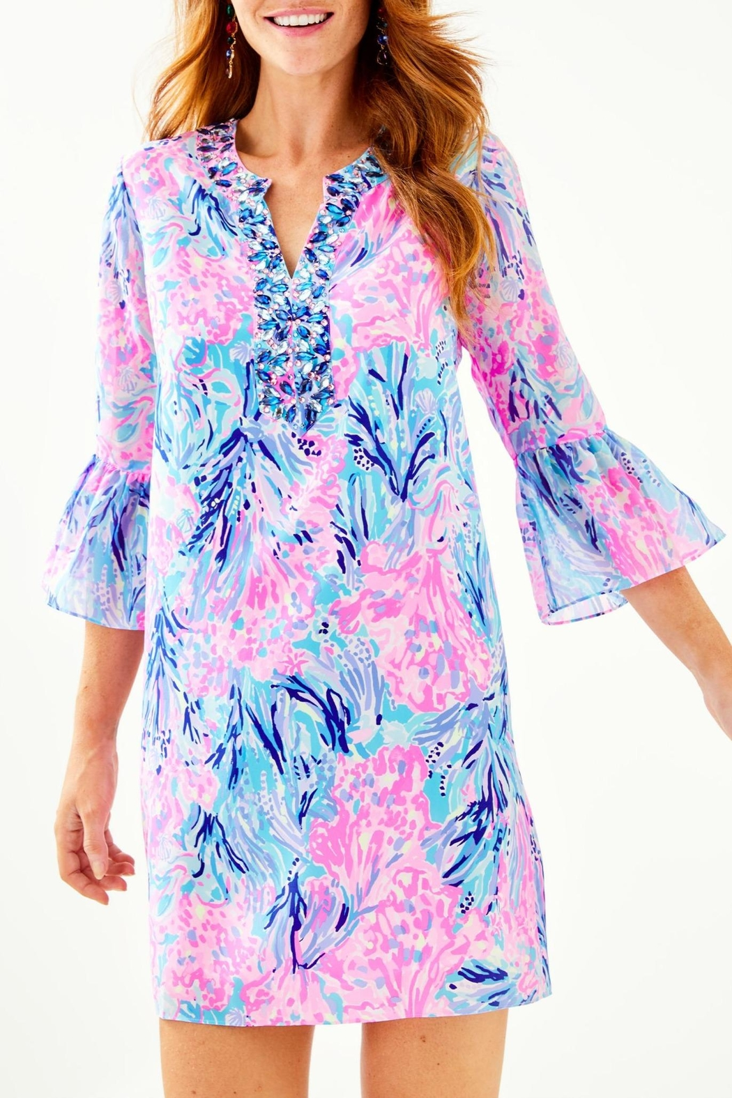 Lilly Pulitzer Elenora Silk Dress - Front Cropped Image