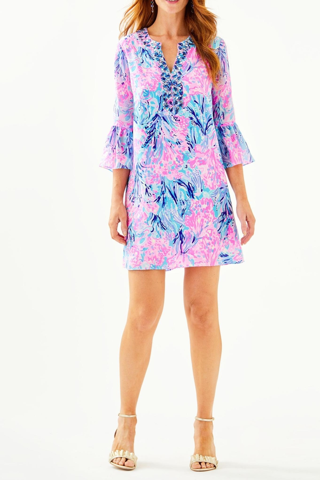 Lilly Pulitzer Elenora Silk Dress - Back Cropped Image