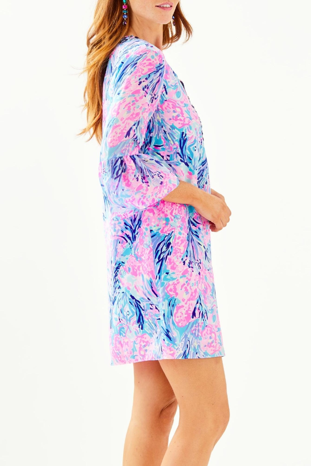 Lilly Pulitzer Elenora Silk Dress - Side Cropped Image
