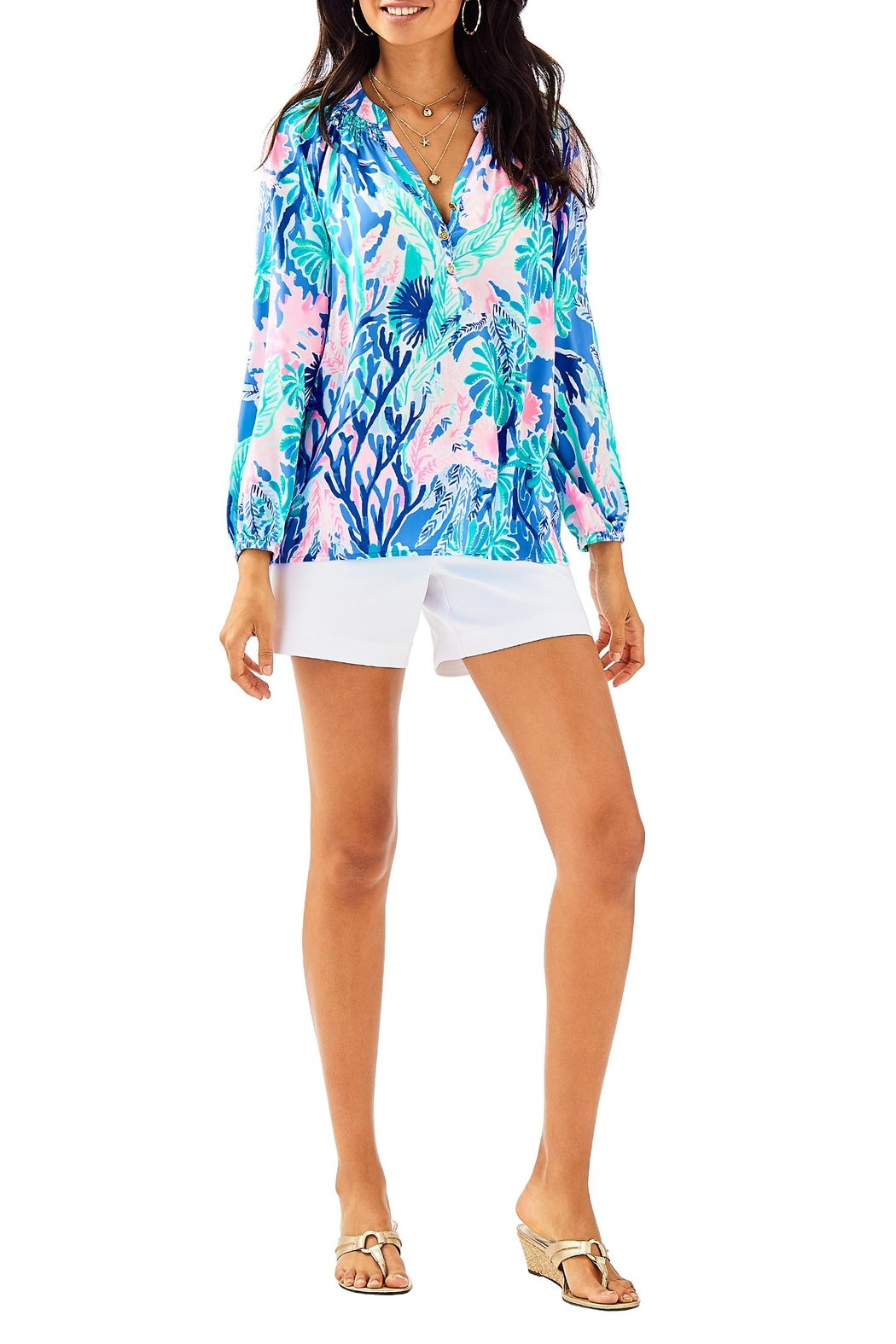 Lilly Pulitzer Elsa Silk Top - Front Cropped Image