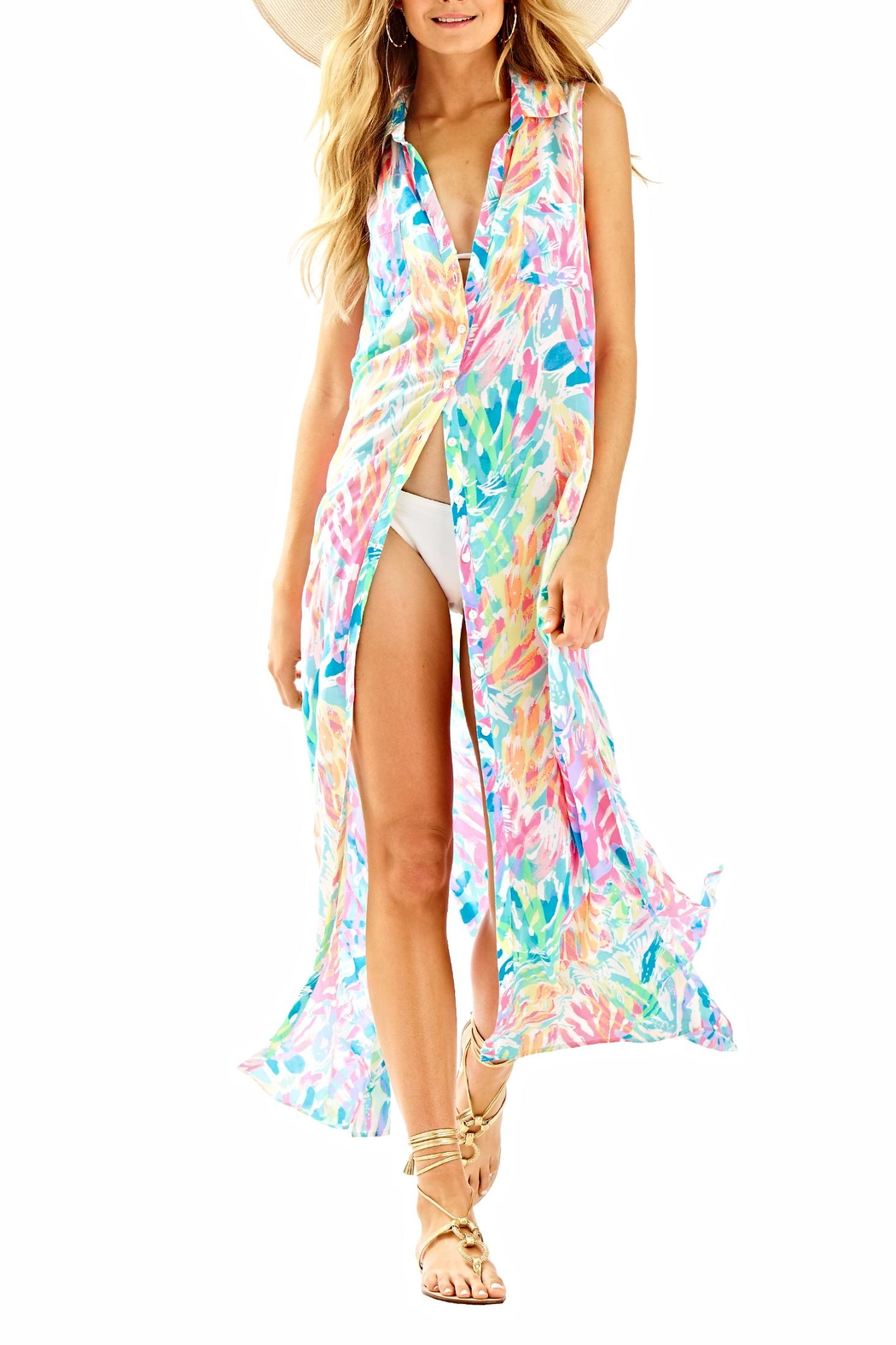 Lilly Pulitzer Ezra Maxi Beach Dress - Front Cropped Image