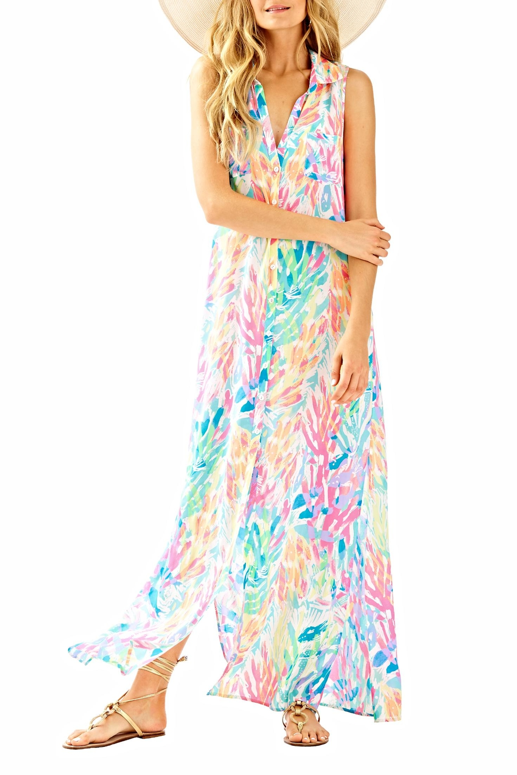 Lilly Pulitzer Ezra Maxi Beach Dress - Back Cropped Image