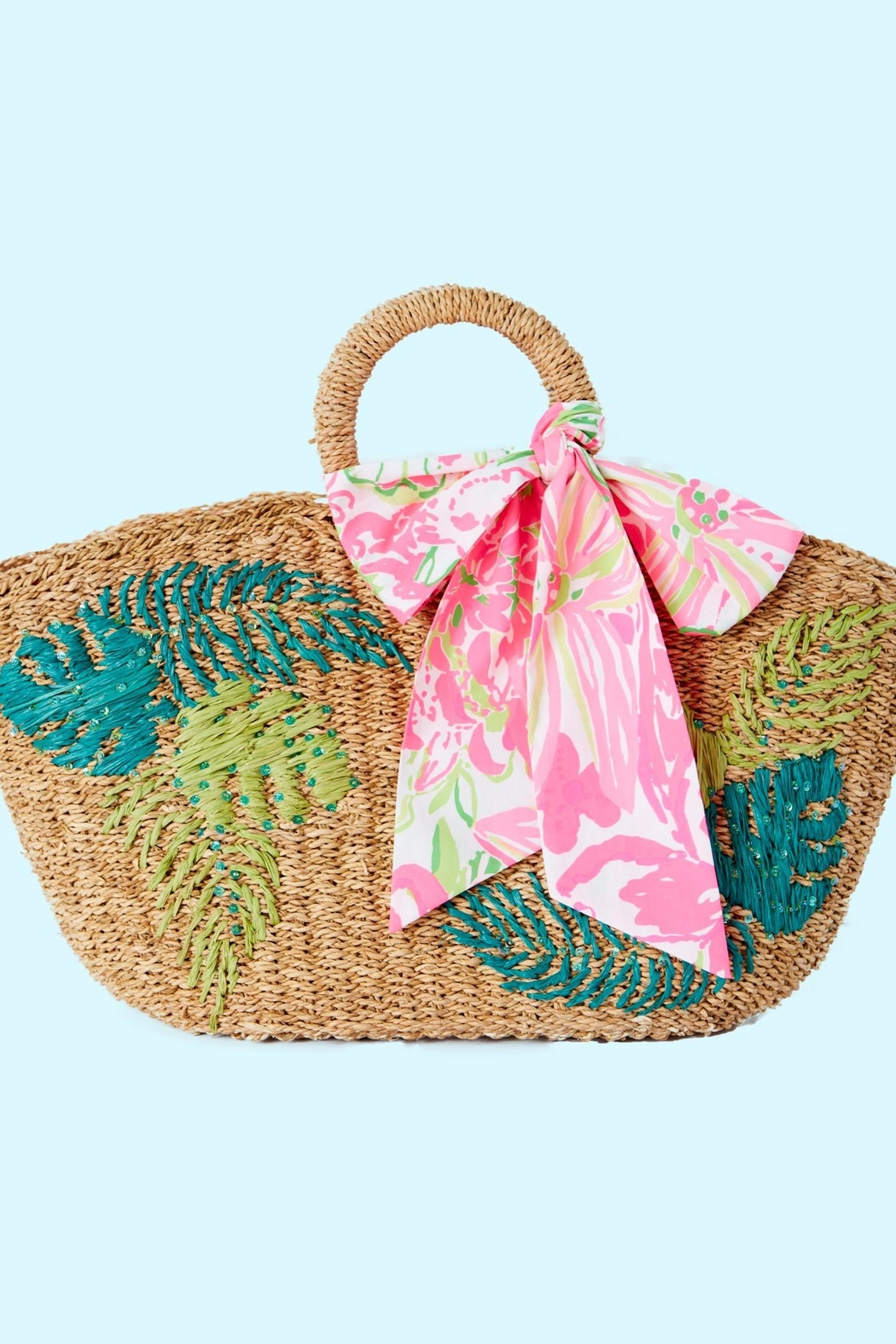 Lilly Pulitzer Flora Straw Tote - Side Cropped Image