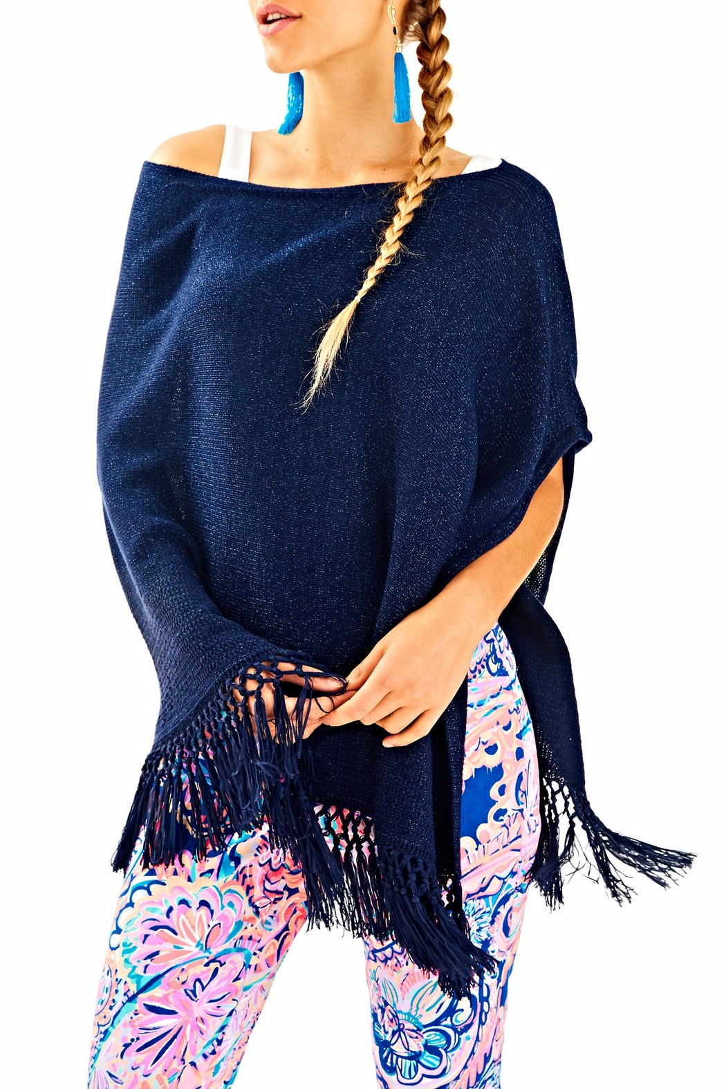 Lilly Pulitzer Floreanna Fringe Wrap - Front Cropped Image