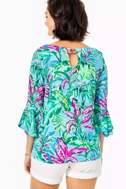 Lilly Pulitzer Fontaine Bell-Sleeve Top - Front full body