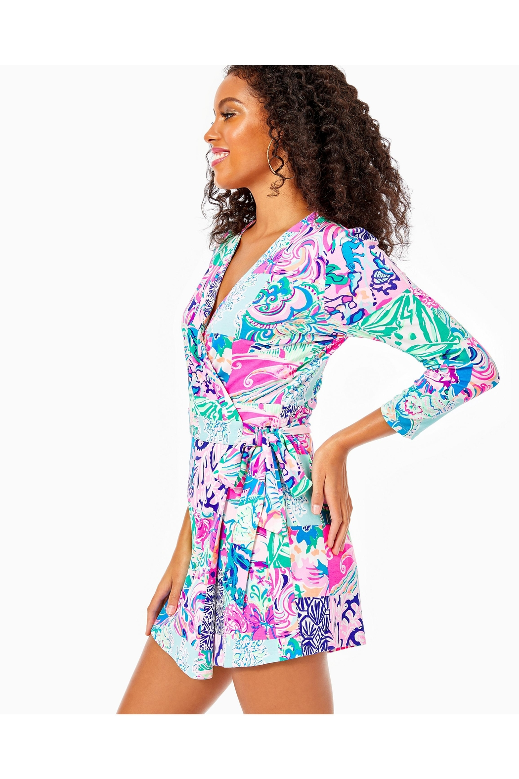 Lilly Pulitzer Karlie Wrap Romper - Side Cropped Image