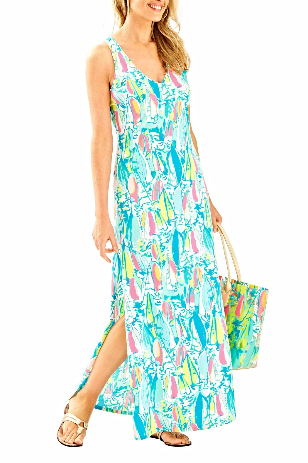 Lilly Pulitzer Maxi Side Slit Dress - Side Cropped Image