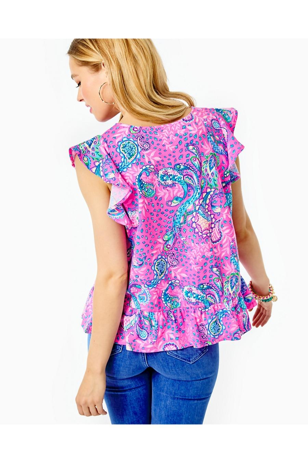 Lilly Pulitzer Lacie Peplum Top - Front Full Image