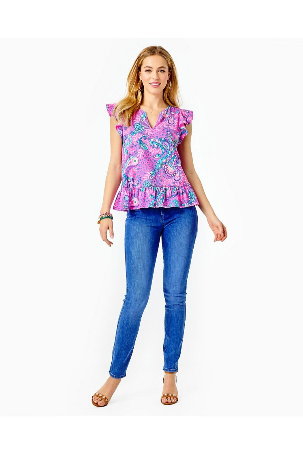 Lilly Pulitzer Lacie Peplum Top - Back Cropped Image