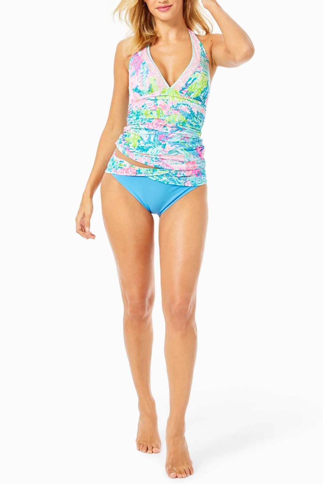 Lilly Pulitzer Lagoon Sarong-Hipster Bikini-Bottom - Side Cropped Image